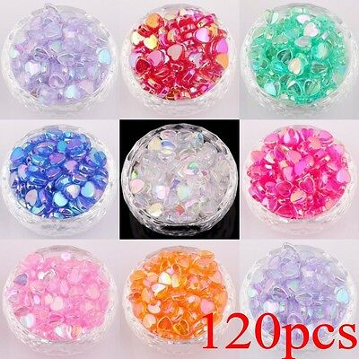 120pcs Large Heart Shaped Acrylic Spacer Beads Charms for DIY Jewelry 9x8.5mm