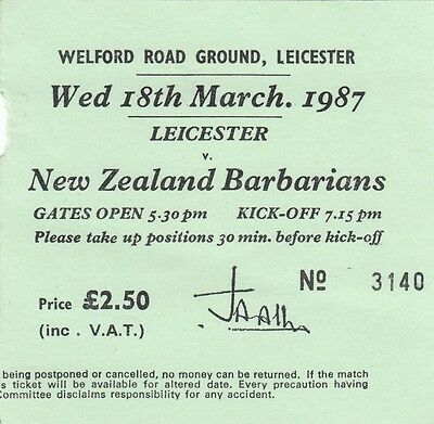 Ticket - New Zealand v Barbarians 18.03.1987 @ Welford Road, Leicester