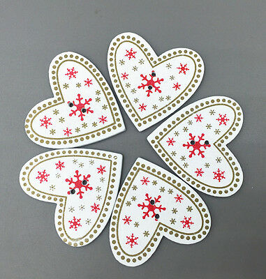 Wooden Buttons decoration Christmas snowflake White Heart-shaped Sewing 33mm