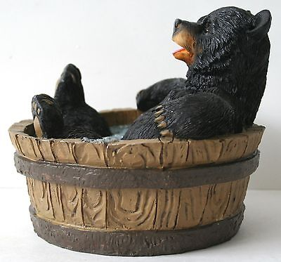 Bathtub Bear Figrurine Black Bear Comic Wildlife Home decor NEW IN BOX