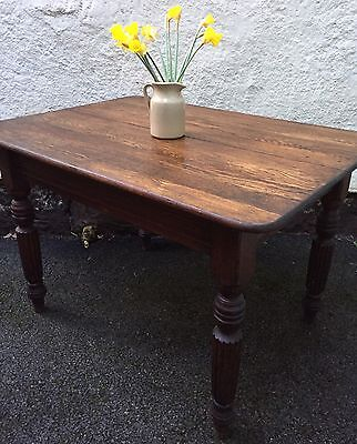Edwardian Antique Oak Dining Table Nice Legs Farmhouse Country Cottage Kitchen