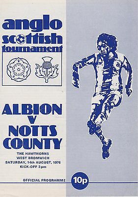 West Bromwich Albion V Notts County ~ Anglo Scottish Cup ~ 14 August 1976