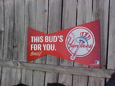 Sign This Buds For You New York YANKEES Baseball Classic Bowtie Budweiser Beer