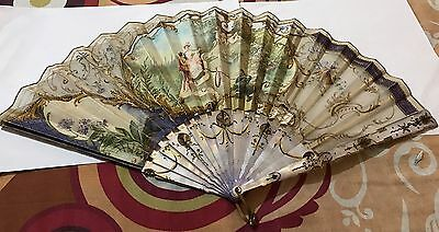 Amazing Antique French 18Th Gold Inlay Filigree Carved Hand Painted Fan