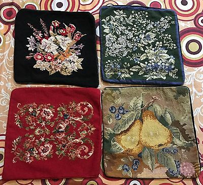 "4 Antique  French Aubusson Style Tapestry Decorative Cushion 15"" By 15''"