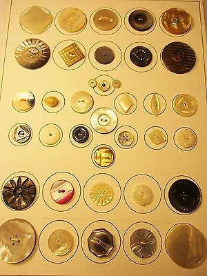 Antique Vtg Shell Pearl Smoky Buttons-Carved-Pierced-Shapes-Steels-Openwork-068