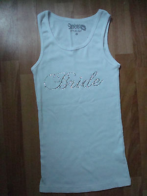 Bride tanktop size M bachelorette party wedding bridal NWOT sequins!!