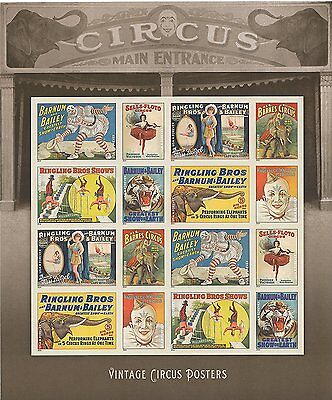 Vintage Circus Posters 16 Forever Postal Postage Stamps Ringling Bros, Barnum &