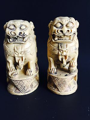 Vintage /Antique Chinese Pair Foo Dog Resin Detailed Handcarved