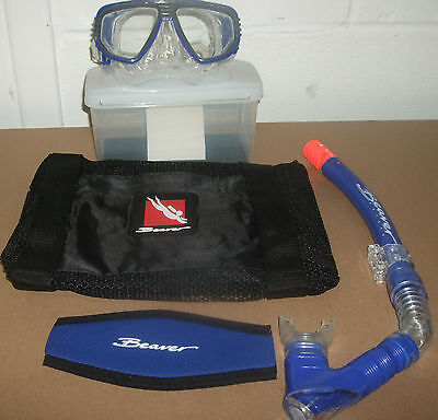 Beaver Discovery Mask & Nevada Snorkel, Net Bag and Mask Strap Set Scuba Diving