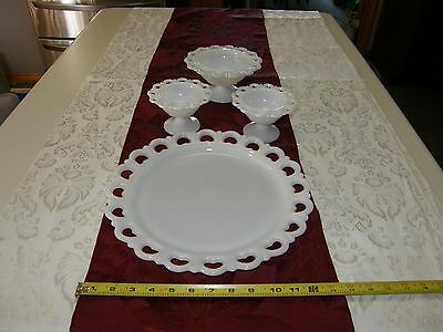 Vtg Anchor Hocking  Milk Glass Open Lace Edge Round Torte Plate With 3 Bowls