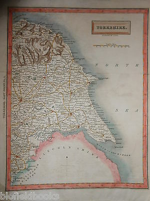 Hand Coloured Map of Yorkshire - 1832 - S Hall - Scarborough/York/Hull/Beverley