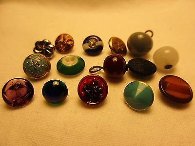 Antique Dimi Tiny Glass Metal Buttons-Peacock-Leaf-Victorian-Overlay-Ball-69