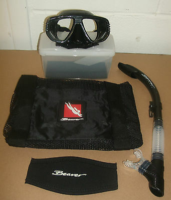 Beaver Discovery Mask & Mirage Snorkel, Net Bag and Mask Strap Set Scuba Diving