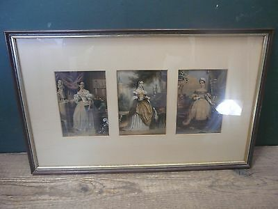 """3 mounted art prints in rectangular frame; Victorian style costume 23"""" x 14"""" F10"""