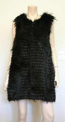 Theory size Large Fur Vest Dyed Cayote with Silk Lining Black and Brown Stripes