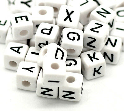 NEW DIY 100X Mixed Cubic Acrylic Letter/ Alphabet Spacer Beads 10x10mm