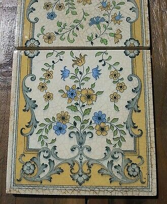 Minton China Works four tile panel rare antique reclaimed salvage set of 4