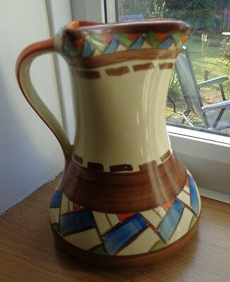 Art Deco Hand Painted Myott Style Pinched Jug Impressed Number 30.