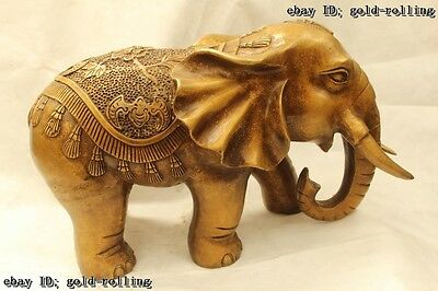 "12""China Folk Purple Bronze carving excellent Lucky Lifelike elephant Statue"