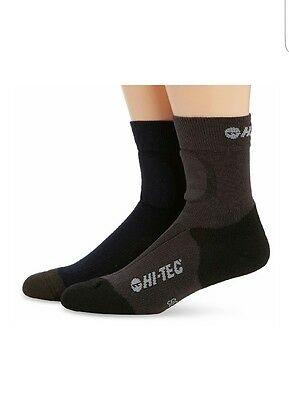 Hi-Tec Walking Socks 2 Pairs - Blue/charcoal Grey/black , Size: 3-5 Uk.