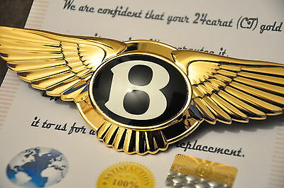 Bentley GT CONTINENTAL GTC Front Grill Badge 24K Gold Plated Genuine New Badge