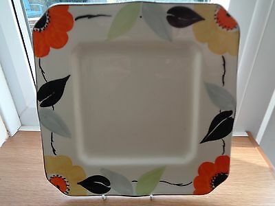 Art Deco Hand Painted Myott  8.5 inch Square Plate with Flower Pattern