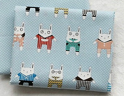 Blue rabbits 100% Cotton Remnant  fabric 110 x 22.5cm Quilting fabric off cut