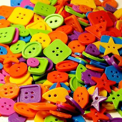Bright Coloured Plastic Craft Buttons - 450g Arts & Crafts, Collage, Children