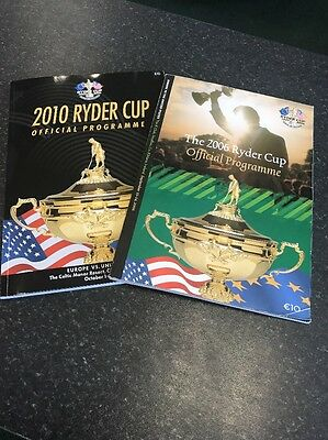 Ryder cup 2006 & 2010 Official Programmes Mint Condition