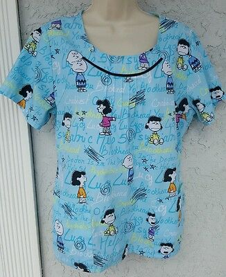 Women's 's Scrub Top Shirt Size  Large Peanuts