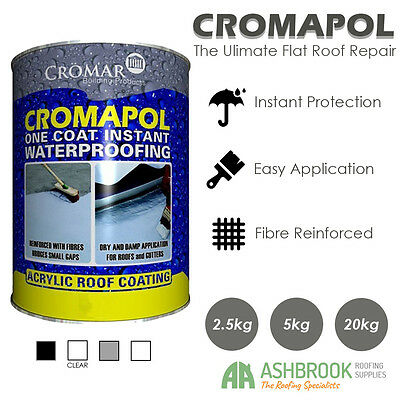 Cromapol | Acrylic Roof Coat | Roof Paint | Roof Sealant | Various Sizes