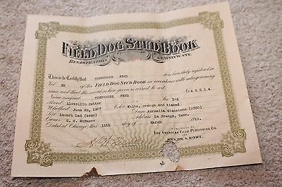 1919 La Grange TN Field Dog Stud Book Registration Certificate Llewellin Fred
