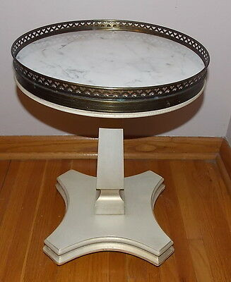 Vintage Marble Top Side Table Hollywood Regency, Shabby EUC