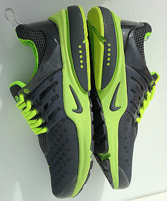 nike air presto size 10 mens flourescent green / grey trainers running shoes