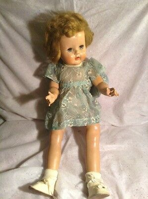 Vintage Composition Doll Turquoise Dress White Flowers Shirley Temple?