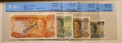 Jersey - Lot of 1 , 5 , 10 and 20 Pounds Specimen Banknotes - UNC