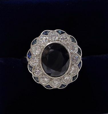 Antique Art Deco Platinum, Sapphire and 1.00ct Diamond Cluster Ring - Size P
