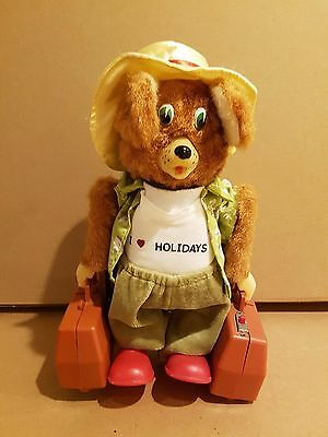 Vintage Yanoman toys tin battery operated holiday bear with suitcase,Japan-works