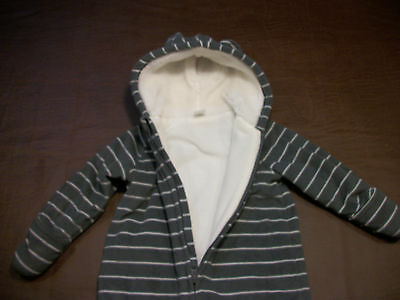 bc1729e66 OLD NAVY BABY Boy Gray Striped Fleece Bear Snow Suit Winter Bunting ...