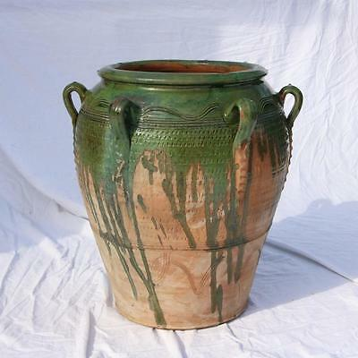 Large French Pottery Pot w/ Handles Green Drip Glaze Confit Italian? VTG Planter