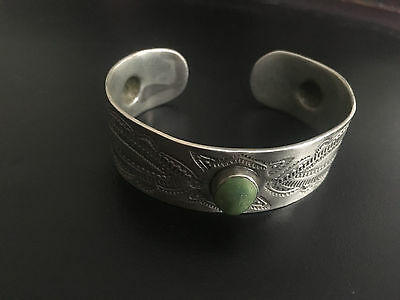 Antique Navajo Hachita Turquoise Whirling Log Sterling Silver Cuff Bracelet