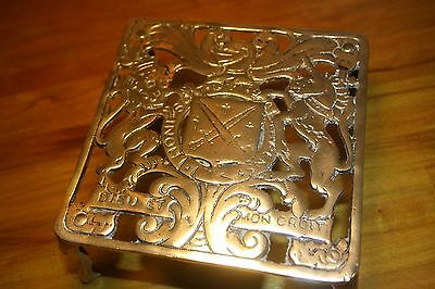 Antique Brass Trivet With Coat Of Arms Filgree, Latin Inscription, Brass legs