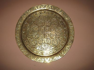 Vintage large brass wall plaque /plate /dish/ tray