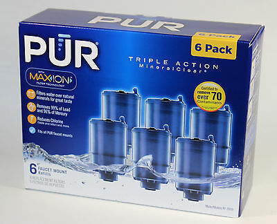 6 Pack! NEW PUR MineralClear Faucet 3-Stage Refill Filters RF-9999 Blue MaxION