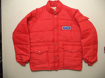 vtg 70s/80s FORD MOTORS LOGO PATCH NYLON INSULATED JACKET SZ L MINT CONDITION