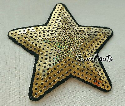 Black & Gold Iron on Sequin Embroidered Star Patch Applique Motif Trim - 8.5cm