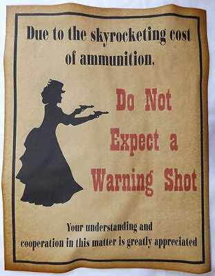 Do Not Expect a Warning Shot Poster Sign, no, western, old west, lady, wanted
