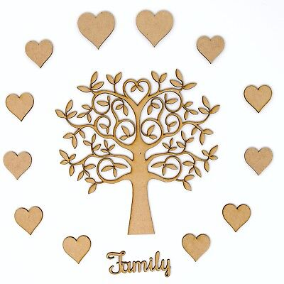 Family Tree Set MDF inc. 12 free hearts and Family word - Wooden Craft Blank