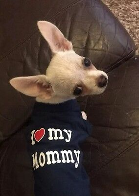 Chihuahua (XSmall size) Dog Clothes I Love My Mommy Black T Shirt Pet Clothing
